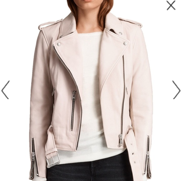 fa7e6930e AllSaints Balfern Leather Biker - Washed Pink